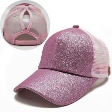 2018 Women Ponytail Baseball Cap Sequins Shiny Messy Bun Snapback Hat Sun Caps
