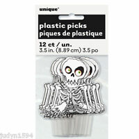 PACK 12 HALLOWEEN HORROR PARTY PLASTIC SKELETON PICKS TOPPERS CUPCAKE FOOD CAKE