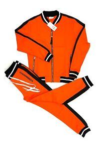 Mens 2-Piece Tracksuit Sports 2-Tone Active Athlete Super Flex Jacket+Pants Sets