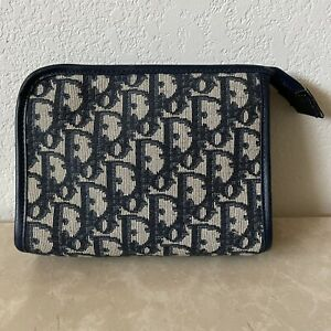 Christian Dior Vintage Small Blue Trotter Canvas Travel Pouch/Clutch
