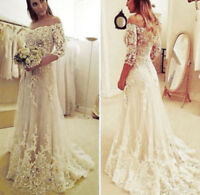 New White/ Ivory Lace Wedding Dress Bridal Gown Custom Size 4 6 8 10 12 14 16 ++