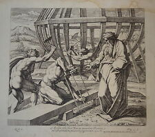 Gravure XVIII° CHAPERON RAPHAEL MARIETTE ARCHE NOE HOMME NU BIBLE JUDAICA 1750