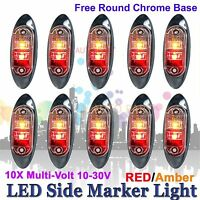 10X 12V 24V SUPERFLUX LED MARKER CLEARANCE TRUCK LIGHT Red Amber LAMP Oval BASE