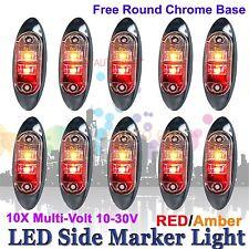 10 X 12V 24V SUPERFLUX LED MARKER CLEARANCE TRUCK LIGHT Red Amber LAMP Oval BASE