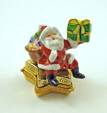 NEW FRENCH LIMOGES TRINKET BOX SANTA CLAUS ON GOLD STAR WITH CHRISTMAS GIFTS