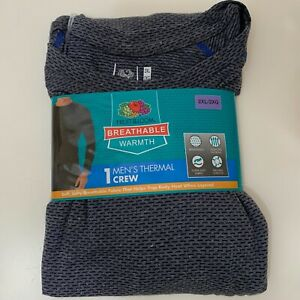 Fruit of the Loom Men NWT Breathable Mesh Knit Thermal Crew in Grey 2XL