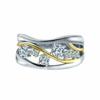 Wedding Jewelry Fashion Two Tone 925 Silver Rings White Sapphire Ring Size 6-10