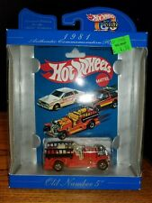 1982 HOT WHEELS OLD NUMBER No 5 Firetruck Diecast Toy 1/64 New (4B)