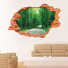 Forest Walk Broken Wall Window Sticker Decal Kids Art Finish size 87x56 cm