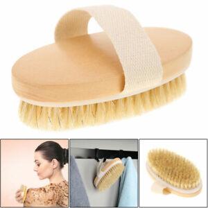 Professional Dry Skin Brush Natural Body Bristle Spa Bath Massager Firm Scrub