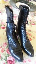 Vintage 1920s Womens's Victorian Boots Shoes Black Leather Lace-up Tall Antique
