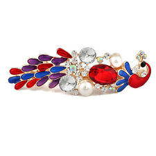 Colorful Ladies Crystal Peacock Pearl Hair Pin Barrettes Hairpin Clip Oil Drip