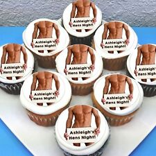 "Hen's Bachelorette Edible Icing Cupcake Toppers - 2"" - PRE-CUT - Sheet of 15"