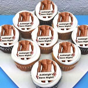 "Hen's Bachelorette Edible Icing Cupcake Toppers - 2"" - PRE-CUT - Sheet of 15"