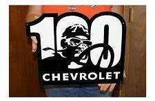 Chevrolet Centennial 100th Racing Emblem Metal Sign 16x14 inches