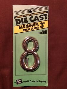 """NEW IN PACKAGE - HY-KO 3"""" Brass Plated Aluminum House Number """"8"""", DCG-3"""