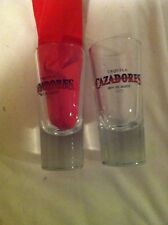 -CAZADORES TEQUILA TALL SHOT / SHOOTER GLASSES---SET of 2---100% DE AGAVE----EUC