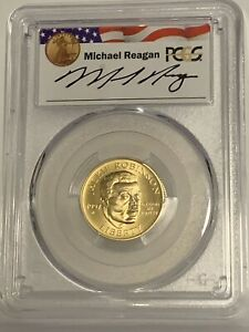 1997-W $5 Jackie Robinson Gold Coin PCGSMS69 - Reagan Legacy Series - Pop of 2
