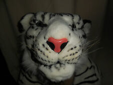 """TIGER RUG WHITE/BLACK WITH RELISTIC HEAD 88"""" LONG WITH TAIL 43"""" WIDE AT PAWS EUC"""