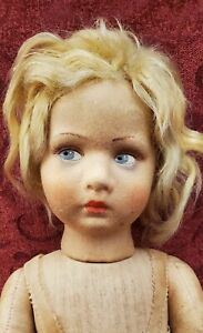 Vintage Cloth Lenci Doll Beautiful Face Blonde Hair 17in Blue Side Glancing Eyes