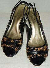Anne Klein 2 Akedyta Open Toe Leopard Print Slingback Heels Sandals Size 10M