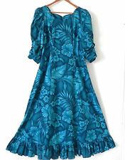 Hawaiian Maxi Dress CC Fashion 3/4 Sleeve Floral Flared Size M/L
