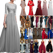 bb6eced2008 Lady Evening Formal Party Wedding Bridesmaid Lace Maxi Dress Prom Long Gown  Ball