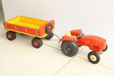 Alter Roter Steiff MAN Traktor mit Anhänger Metall Holz Kunststoff