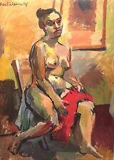 SAUL LISHINSKY (1922-2012) NEW YORK CITY NUDE FIGURE ABSTRACT MODERNIST PAINTING