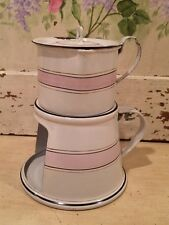 Rare Vintage French Enamel Coffee/Tea Pot ~ White & Pink Bands ~ Warming Plate
