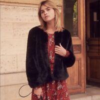 SEZANE | Womens Lio Black Faux Fur Coat Jacket  [ Size EUR 42 or AU 14 / US 10 ]