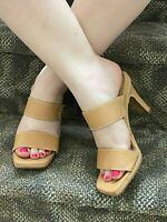 VIA SPEGA  MADE IN ITALY CAMEL LEATHER CONTRASTING STITCHING SANDALS HEELS 7