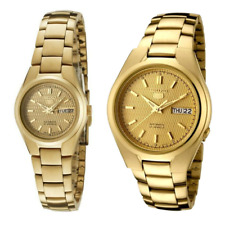 Seiko 5 Classic Gold Dial Couple's Gold Plated Stainless Steel Watch Set