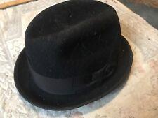 ANTIQUE WASHBURN BLACK FEDORA HAT VINTAGE SIZE 7 FELT GANGSTER BOWLER DERBY COAL