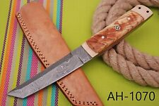 HAND FORGED DAMASCUS STEEL TANTO POINT HUNTING KNIFE &OLIVE WOOD HANDLE AH-.1070