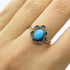Vtg 925 Sterling Silver Real Turquoise Gemstone Floral Ring Size 6 3/4