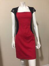 Nicole By Nicole Miller Red & Black Lace Cap Sleeve Knit Sheath Dress Size L