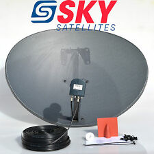 Zone 2 Sky Freesat Satellite Dish & MK4 Octo Lnb + 30M Black Twin Coax Cable Kit