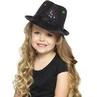 Boy's Black Light Up Sequin Trilby Fancy Dress Hats Childs Parties Dance Shows