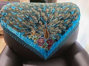 PEACOCK~Silk & Velvet Shawl~Burn-Out~Textured~Beads & Sequins~Fringed~Elegant