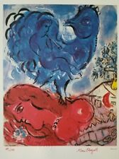 "Marc Chagall Original 1984 Hand Signed & Numbered Print ""Blue Cock"" 