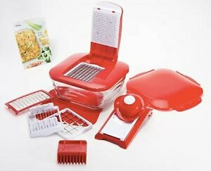 Genius 12 Cup Chopper w/ 5 Blades Glass Bowl Baker Dish Lid Red Silicone Mat