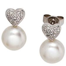 Ohrstecker Herz 585 Gold Weißgold 2 Süßwasser Perlen 10 Diamanten Ohrringe