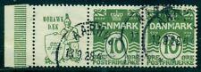 DENMARK (RE3) 10ore green, MOHAWK DAEK advertising pair used