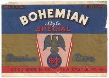 1930's Bohemian Premium Beer IRTP Label - New Castle, PA