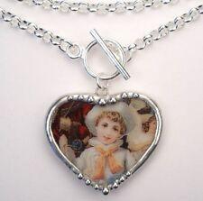 Sailor Heart Necklace Broken China Jewelry Handmade Vintage Charm Pendant