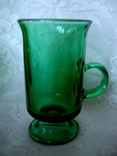 Collectible ANCHOR HOCKING Teal/ Dk.Green Glass Footed Mug - MORE AVAILABLE