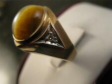 Vintage Retro 14k Solid Gold Diamond And Tiger Cat Eye Ring  Size 9.75 T