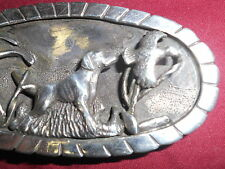 Beautiful silver belt buckle/hunting dog scene/Mark Drain?
