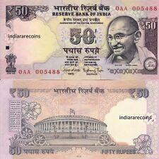 INDIA 2013 50 Rs Rajan Plain Inset 0AA Prefix Paper Money Bank Note UNC NEW